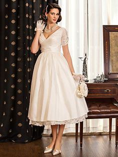 Wedding Dress A Line Tea Length Taffeta V Neck Little White Dress With Criss Cross Bodice - USD $ 79.99
