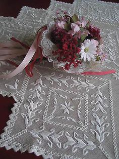 Vintage Hardanger Lace Handmade Embroidered Linen Tablecloth | eBay