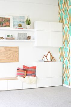 San francisco interior design company regan baker design - rbd office, cavern home wallpaper, ikea besta white cabinets storage, ikea hack bench, Ikea Hack Bench, Ikea Office Hack, Ikea Storage, Storage Ideas, Playroom Storage, Shoe Storage, Ikea Living Room Storage, Storage Units, Record Storage