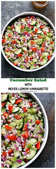 This quick and easy Cucumber Salad with Meyer Lemon Vinaigrette is perfect for picnics and potlucks. This recipe is packed with flavor yet incredibly simple to make. #cucumber #salad #summer