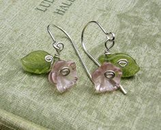 Little Pink Glass Flower and Leaves Earrings - Sterling Silver Wire and Czech Glass. $12.50, via Etsy.