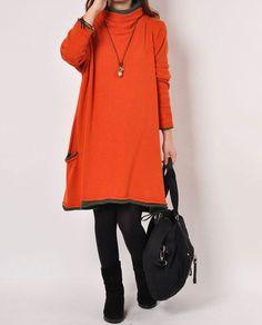 Orange cotton sweater knitwear knitted sweater by lsmartmiss