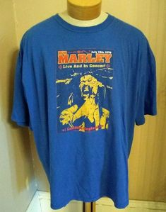 Bob Marley T Shirt Mens 3X July 18 1975 London England Blue Retro Zion 2005   893de0b62