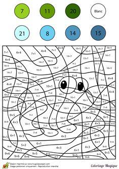 coloriage magique addition grenouille