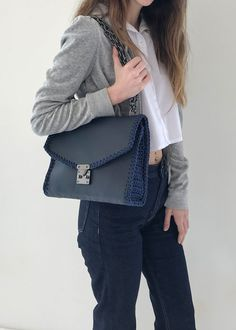 UTOPIA handmade leather bag with crochet details Timeless Classic, Timeless Design, Crochet Shoulder Bags, Leather Bags Handmade, Leather Shoulder Bag, Urban, Chain, Navy, How To Wear