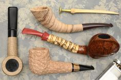 An assortment of four fresh pipes dressed in oak, olivewood, bamboo and more from G. Penzo, plus pipes from S. Bang and Dasha Florov.