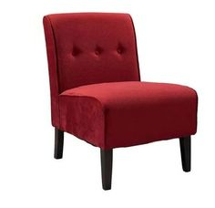 Tufted Accent Chair Living Room Arm Less Style Side Lounge Red Chairs Furniture #Linon #Contemporary