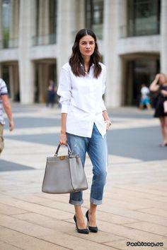 белая рубашка - джинсы