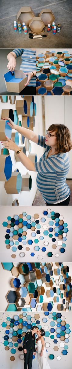 How To: Geometric Hexagon Box Wedding Backdrop | A Practical Wedding diy pour un mur de décoration pour photobooth pour un mariage