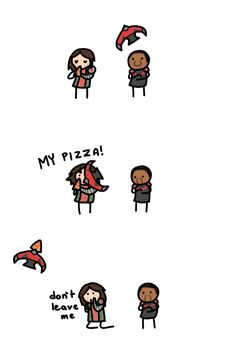 Sam's so mean to Bucky. Who takes away someone's pizza?!