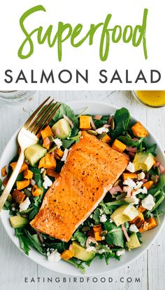 This salmon salad is loaded with roasted sweet potato croutons, avocado, pickled onions and dressed in a light lemon vinaigrette! It's an easy go-to meal you'll love having as part of your weekly rotation. Grilled Salmon Salad, Salmon Salad Recipes, Healthy Salad Recipes, Fish Recipes, Seafood Recipes, Cooking Recipes, Smoked Salmon Salad, Recipies, Salmon And Sweet Potato