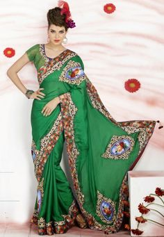 """Click on image to zoom or click to enlarge Green Satin Gorgeous Partywear Saree Designed   INR:- 7,050 Only (With Discount 25% !! Use Coupon Code """"FLAT 25″ To Avail The Discount)"""