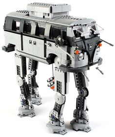Here's what the final result looks like when an AT-AT Imperial walker have sex with a Volkswagen from the geeky mashup of a AT-AT walker from Star Wars and a groovy classic Volkswagen Bus was designed by LEGO Vw Bus, Vw Camper, Campers, Lego Design, Lego Star Wars, Lego Cars, Lego Robot, Lego Lego, Combi Split