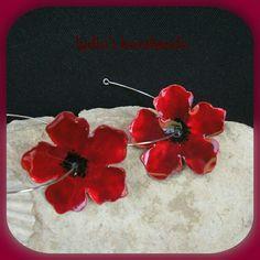 Σκουλαρίκια χειροποίητα παπαρούνες κόκκινες με υγρό γυαλί!
