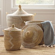 front entry baskets...color is great and lid is nice to keep things hidden.  One or two would look great!