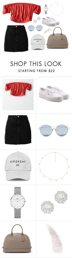 """""""Untitled #595"""" by ellecatherine3 on Polyvore featuring American Eagle Outfitters, Vans, IRO, For Art's Sake, The M Jewelers NY, Daniel Wellington and Coach"""