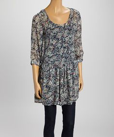 This Navy & Black Scoop Neck Top by B. Bronson is perfect! #zulilyfinds