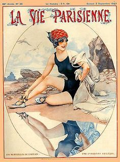 1920's La Vie Parisienne French Beach France Travel Advertisement Poster