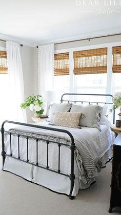 Dream Bedroom, Home Decor Bedroom, Master Bedroom Furniture Ideas, Farmhouse Bedroom Furniture Sets, White Wall Bedroom, Farmhouse Style Bedrooms, Farmhouse Master Bedroom, Master Bedroom Makeover, Bedroom Curtains