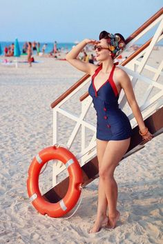 Esther Williams Swimwear Sailor One Piece Swimsuit in Navy and Red in 2020 Looks Rockabilly, Rockabilly Mode, Rockabilly Fashion, Retro Fashion, Vintage Fashion, Lingerie Pin Up, Vintage Lingerie, Trajes Pin Up, Esther Williams Swimwear