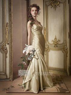 Champagne Satin Ruffle Sweetheart Mermaid Floor-length Bridesmaid Dresses