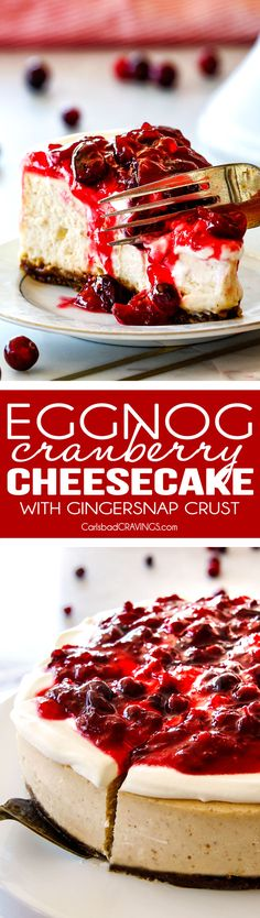 Cranberry Eggnog Cheesecake with Gingersnap Crust - this cheesecake is divine! Its become a family tradition because it tastes just like creamy eggnog and the Eggnog Cream Topping and Cranberry Topping make this worlds better than any other I've tried! Cranberry Cheesecake, Eggnog Cheesecake, Cheesecake Recipes, Eggnog Pie, Cranberry Dessert, Holiday Baking, Christmas Desserts, Christmas Baking, Christmas Cheesecake