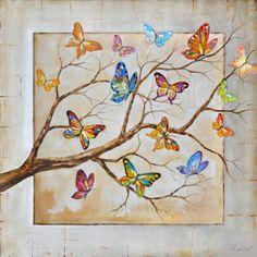 schilderij vlinders 100x100