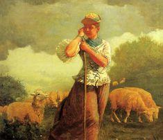 The Shepherdess (aka The Shepherdess of Houghton Farm) 1879   Homer Winslow   Oil Painting #americanpaintings