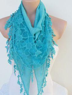 Blue Scarf with fringe -Triangle Shawl Scarf-Winter Fashion-Lace Scarf-Necklace-Pashmina Scarf- Neckwarmer- Infinity Scarf on Etsy, $17.00