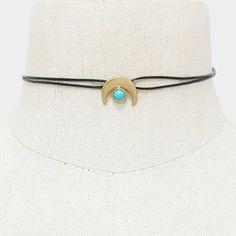 Turquoise Double Horn Faux Leather Choker Necklace - Gold Cute Choker Necklaces, Leather Choker Necklace, Silver Necklaces, Horns, Turquoise Bracelet, Cuff Bracelets, Jewelery, Chokers, Fancy