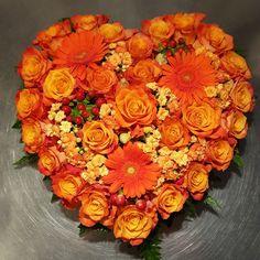 My first shaped arrangement. For a funeral ❤ Flower Arrangement, Funeral, Floral Wreath, Hearts, Wreaths, Shapes, Home Decor, Floral Arrangements