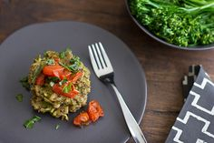 #vegetarian dish: It's what's for dinner!   Pesto Quinoa & White Bean Cakes with Roasted Tomatoes and Fresh Basil