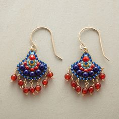 """KARLITA EARRINGS--Miguel Ases creates miniature works of art with hand-beaded earrings of lapis, carnelian, Japanese Miyuki beads and Swarovski crystal. 14kt gold-filled wires. USA. Exclusive. 1-1/2""""L."""