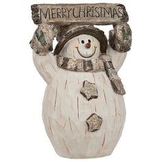 Merry Christmas Birch Snowman Statue (22 AUD) ❤ liked on Polyvore featuring home, home decor, holiday decorations, christmas holiday decorations, christmas home decor, snowman statue, text signs and christmas signs