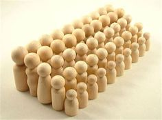 Set of 50 unfinished wooden peg dolls.   These cute little peggies come unfinished and ready to accept your stain or paint. WooWeeble natural wooden peg dolls are top quality turnings and are sanded smooth and ready to be finished. They are made of solid Maple hardwood and come finely sanded and ready to receive paint or stain with no extra sanded needed.   Perfect for DIY projects such as hand painting, wood figurines, waldorf figures, school crafts, natural wood, paintable wood…