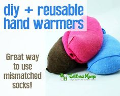 DIY Reusable Hand Warmers from Baby Socks - These reusable hand warmers are made from rice, baby socks and optional lavender flowers. Reheat in microwave or oven to use over and over.