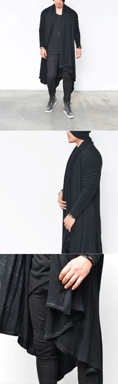 Outerwear :: Cardigans :: Super Long Drape Shawl Cape Jacket-Cardigan 122 - Mens Fashion Clothing For An Attractive Guy Look