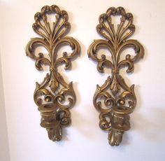 VTG Gold Wall Sconces Hollywood Regency Deco Ornate Candle Holder Burwood Pair