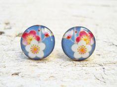 Flower Earrings in Soft Blue White Red Ear Stud Post by Jugosa, $9.50
