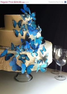 Lovely blue butterfly wedding cake.