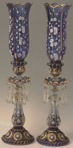 Pair of Antique Persian Blue-cut-to-White Glass Antique Hurricane Lamps, Antique Oil Lamps, Vintage Lamps, Victorian Lighting, Victorian Lamps, Antique Lighting, Victorian Furniture, Chandeliers, Chandelier Lamp