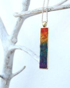 Rainbow Sparkle Rectangle Pendant - Shades of rainbow captured in a piece of wearable felt art.