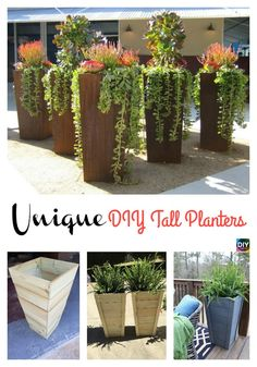 DIY Tall Planters ndash Unique and Beautiful diyplanter gardening Tall Outdoor Planters, Outside Planters, Large Planters, Concrete Planters, Outdoor Gardens, Diy Concrete, Large Garden Pots, Large Flower Pots, Succulent Planter Diy