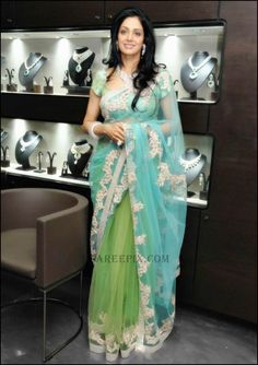 Elegant combination of colors: sridevi in manish malhotra designer green saree Blouse Patterns, Blouse Designs, Beautiful Saree, Beautiful Outfits, Saree Backless, Saree Navel, Green Saree, Sabyasachi, Lehenga