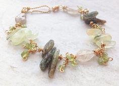Green Kyanite Spiky Rustic Boho Bead Bracelet Prehnite stick beads, Peridot, Quartz, pure brass wire wrapped, green gemstone, gift for her