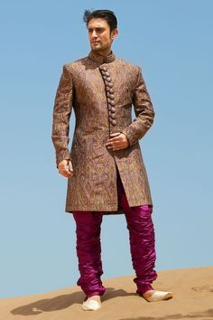 Multi-colour brocade weaved straight cut #sherwani -SH147 from Samyakk's exclusive #wedding collection.