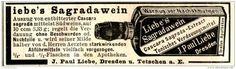 Original-Werbung/ Anzeige 1897 -  LIEBE'S SAGRADAWEIN / LIEBE DRESDEN - ca. 90 x 25 mm