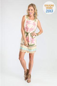 Vestido Detalhe Frente Estampado Caqui - Farm | Brandsclub.- Inspiração p/ costurar