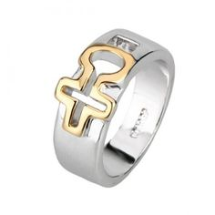 Dual Tone Hollow Cross 18K Gold Plated Religion Band Ring