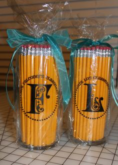 great back to school idea!! vinyl monogrammed vases - Google Search